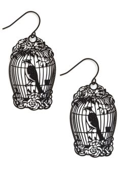 How the Caged Bird Swings Earrings - Black, Solid, Print with Animals, Casual, Vintage Inspired, Fairytale