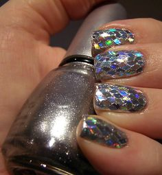 silver sequins disco ball new year's eve nails