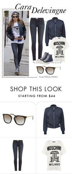 """Spotted: Cara Delevingne"" by smartbuyglasses-uk ❤ liked on Polyvore featuring Prada, Pilot, Paige Denim, Moschino, Converse, StreetStyle, sunglasses and CelebrityStyle"