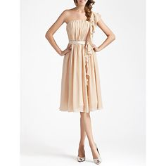 Sheath/Column One Shoulder Knee-length Draped Chiffon Bridesmaid Dress  – USD $ 79.99