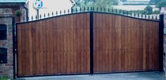 Wooden Clad Iron Gates- Automation - Steel Framed Timber Gates