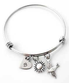 Love this Stainless Steel Bird in Flight Initial Bangle on #zulily! #zulilyfinds