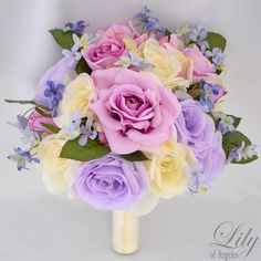"""17 Piece Package Wedding Bridal Bride Maid Of Honor Bridesmaid Bouquet Boutonniere Corsage Silk Flower LAVENDER IVORY """"Lily of Angeles"""""""
