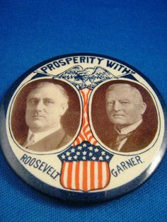 Vintage campaign button: FDR and John Nance Garner