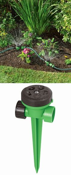 Snip-n-Spray Garden and Landscape Sprinkler System - I could do with this irrigation system Garden Yard Ideas, Lawn And Garden, Indoor Garden, Garden Projects, Garden Landscaping, Outdoor Gardens, Landscaping Ideas, Garden Tools, Diy Projects