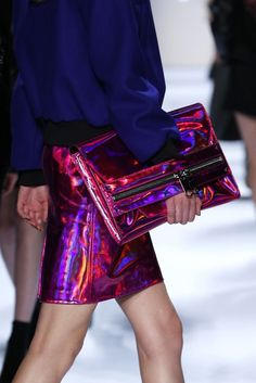 Love this iridescent / holographic skirt and bag x