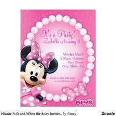 "Minnie Pink and White Birthday Invitation 4.25"" X 5.5"" Invitation Card"