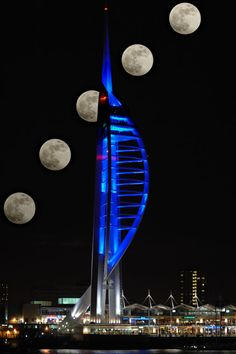 towers - Spinnaker Tower - Portsmouth UK - in blue & winter moon rise