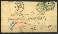 132735 - Lot 260 - Fiji - Covers - Registered Inwards Cover to Fiji 1885, superb attractive cover sent from… / MAD on Collections - Browse and find over 10,000 categories of collectables from around the world - antiques, stamps, coins, memorabilia, art, bottles, jewellery, furniture, medals, toys and more at madoncollections.com. Free to view - Free to Register - Visit today. #Stamps #PostalHistory #MADonCollections #MADonC