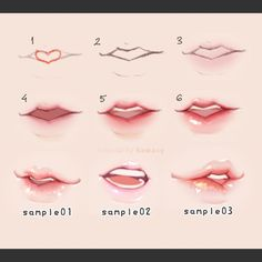 Female lips reference. Painting. From Twitter By 河CY
