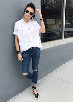 Everyday Style April - Embroidered Top, Statement Shoes, Leather Cuff & Earrings