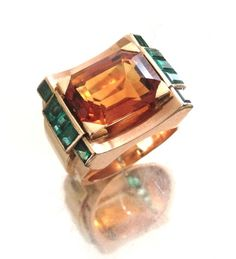 Citrine and Emerald ring by René Boivin (1940)