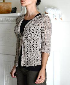 Chevron Lace Cardigan, free pattern by milobo.