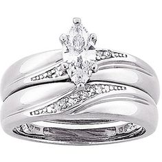 1.3 Carat T.G.W. Marquise CZ and Diamond Accent Wedding Ring Set in Sterling Silver