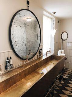 the brass trough basin at Soho House Greek Street designed by Linda Boronkay