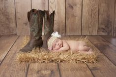 Little cowgirl, newborn with cowboy boots - Dee Kay Photography