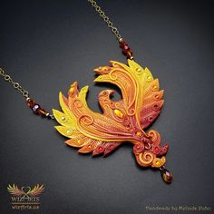 *Phoenix* Magickal, Handmade Statement Art Necklace - wizArts Art Necklaces, Polymer Clay Necklace, Gold Filled Chain, Magick, Unique Art, Wearable Art, Jewelry Art, Swarovski Crystals, Handmade Jewelry