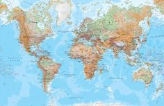 Download wallpapers world map political map 4 countries of the physical world map mural wallpaper gumiabroncs Images