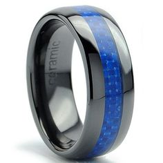 Thorsten Paisley Design Bold Print Pattern Ring Flat Black Tungsten Ring 10mm Wide Wedding Band from Roy Rose Jewelry