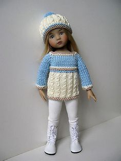 Hand-Knitted-3-pc-Set-Sweater-Hat-Leggings-fits-13-Little-Darling-Effner-dolls. SOLD for $31.00 12/28/14.