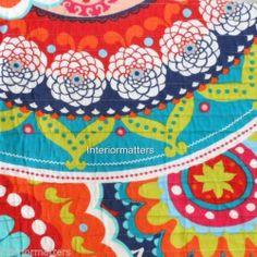 Serendipity Bright Medallion Twin Quilt Orange Teal Navy Circle Floral Cotton   eBay