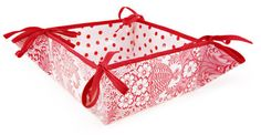 Reversible Oilcloth Bread Basket in Red and White Toile with Red and White Polka Dot Oilcloth.   oilclothalley.com