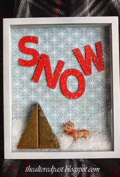 the altered past blog, snow globe picture, shadow box frame