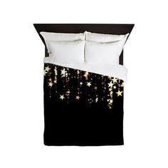 falling stars Queen Duvet ($158) ❤ liked on Polyvore featuring home, bed & bath, bedding, galaxies, outer space bedding, queen bed linens, queen bedding, queen duvet and star bedding