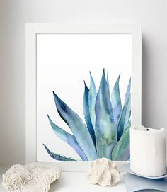 Plant Watercolor, Agave print, Agave Leaves, Blue Art, Plant Poster, Blue Plant, Leaves Print, Tropical Poster, Plant Printable, Kitchen Art