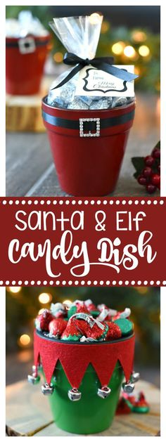 & Santa Candy Pot Gift Idea Santa and Elf Candy Dishes for Christmas-Great Gift for Neighbors or Friends!Santa and Elf Candy Dishes for Christmas-Great Gift for Neighbors or Friends! Noel Christmas, Christmas Treats, Christmas Decorations, Christmas Ornaments, Christmas Gifts For Neighbors, Christmas 2019, Christmas Tables, Christmas Dishes, Scandinavian Christmas