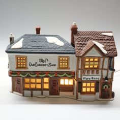 Old Curiosity Shop, Dickens Village Series Hand Painted Porcelain. Made Exclusively for Department 1987 Painted Porcelain, Hand Painted, Dickens Village, Curiosity Shop, Department 56, Pencil Drawings, Holidays, Sterling Silver, Etsy
