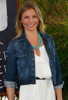 Love Cameron Diaz in Denim, White and Turq Necklace!!