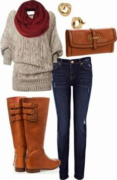 Red scarf, grey sweater, jeans, long boots