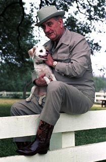 White House Pets - Yuki and President Lyndon B. Johnson