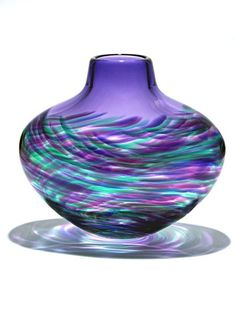 Beautiful Art Glass Vase, Purple Wave Design ~ One of over 3,000, limited production.   Interior design inspirations, including furniture, lighting, mirrors, tabletop accents, & gift ideas to enjoy, pin, & share at InStyle Decor Beverly Hills Hollywood Luxury Home Decor.