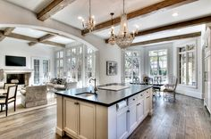 transitional kitchen .
