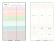 A half page weekly meal planner with accompanying grocery list: ScatteredSquirrel.com