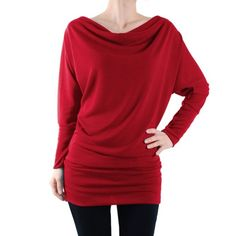 """Women's Dolman Sleeve Cowl Neck Basic Tunic Top NWOT.Material: 87% Polyester + 9% Rayon + 4% Spandex,  Basic Knit Tunic, Comfy, Dolman Long Sleeve Tunic Top. [Small - Chest: 34.5"""" Waist: 28"""" Bottom Band Width: 28.5"""" Wrist Band Width: 7.5"""" Length(Top to bottom) 30.5""""] Tops"""