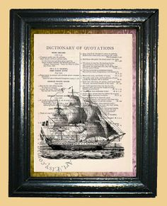 Clipper Sailing Ship  Vintage Dictionary Book Page by CocoPuffsArt, $9.99