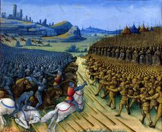 During the Crusades happened the battle of a Christian coalition against the Turks at September 1396 in the Bulgarian zone of Nicopolis. Laval, Medieval Armor, Illuminated Manuscript, Botanical Illustration, Middle Ages, Dolores Park, Battle, America, Landscape