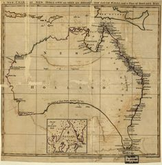 A new chart of New Holland (Australia) on which are delineated New South Wales and a plan for Botany Bay Century, Australia, Netherlands, Oceania) Vintage Maps, Antique Maps, Captain James Cook, Explorer Map, Botany Bay, Pictorial Maps, Map Pictures, Photos, Australia Map