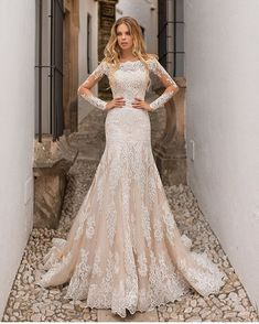 Wedding Gown naviblue 2019 bridal long sleeves bateau neck full embellishment drop waist champagne a line wedding dress lace back chapel train mv -- Naviblue 2019 Wedding Dresses Blake Lively Wedding Dress, 2 In 1 Wedding Dress, Pregnant Wedding Dress, Lace Mermaid Wedding Dress, Long Wedding Dresses, Long Sleeve Wedding, Perfect Wedding Dress, Bridal Dresses, Dress Lace