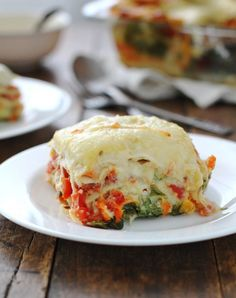 Veggie Alfredo Lasagna  -  #vegetarian or use vegan milk, butter, and cheese - This recipe allows you to mix and match your favorite veggies in this recipe .. don't like carrots, use broccoli; don't like greens, use zucchini.  Just use your own ideas.
