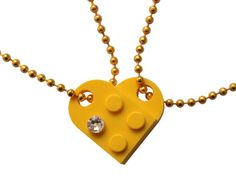 Idée et inspiration Bijoux : Image Description Yellow 2 piece customizable heart made from 2 LEGO® plates with a Diamond color SWAROVSKI® crystal on 2 Yellow ballchains – Best Friends Bff, Weird Fashion, Women's Fashion, Kids Fashion, Fashion Group, Fashion Accessories, Fashion Jewelry, Colored Diamonds, Gift Ideas
