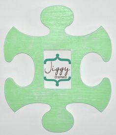 Large Custom Jigsaw Puzzle Piece Photo Frame - Wood, Plain with Shabby Chic Finish