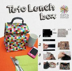 Tuto de la Lunch box by DécoAvenue. Box Couture, Couture Sewing, Bored Kids, Diy Crafts To Do, Embroidered Clothes, Custom Bags, Diy Clothes, Sewing Crafts, Handmade