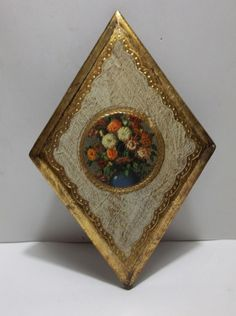 "Vintage Italian Florentine TOLEWARE Wall Plaque Picture FLOWERS 8.5"" #HollywoodRegency #Florentia"