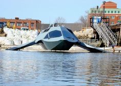Military Hoovercraft privately developed for possible use by the U.S. Navy, the boat would reportedly be invisible to enemy ships' radar, while also being faster and more economical than existing military vessels. The company's big claim, however, is that GHOST is the world's first super-cavitating watercraft. #product #design