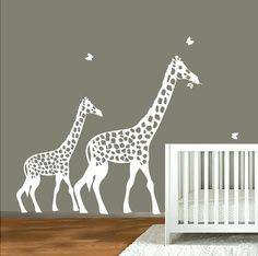 decal wall white Giraffe silhouette Childrens by ModernWallDecal Childrens Wall Decals, Kids Wall Decals, Nursery Wall Decals, Wall Sticker, Wall Vinyl, Baby Nursery Furniture, Baby Nursery Themes, Disney Nursery, Nursery Ideas