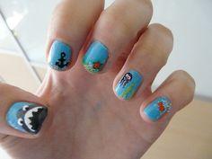 Sea-themed nails - love the shark!